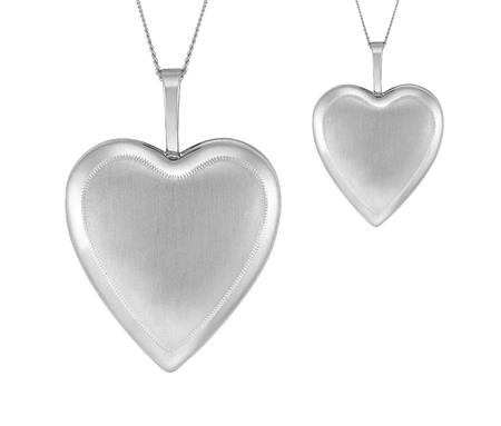 Silver pendant hearts isolated on white background Reklamní fotografie