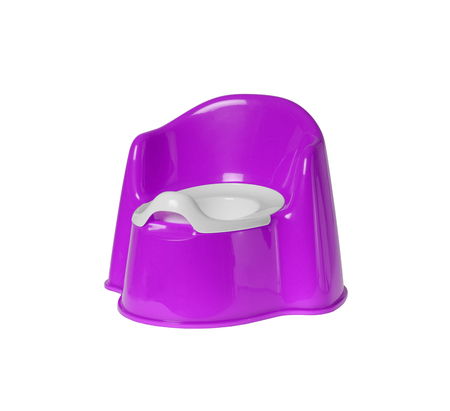 Childrens violet chamber-pot isolated on white