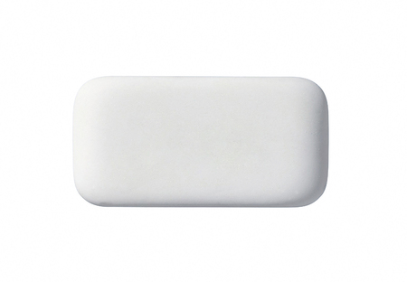 Close-up rubber eraser on white background