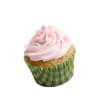 Cupcake with frosting isolated on white background