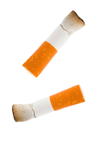 two cigarettes butt isolated on white