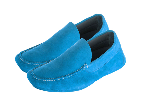 Blue mens suede leather loafers pair