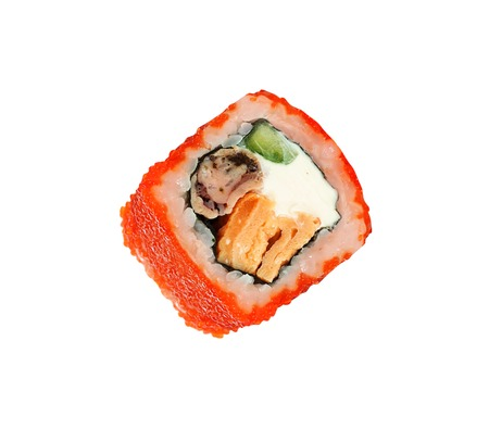 traditional sushi rolls isolated on white