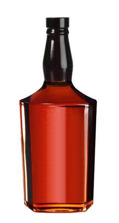 Full whiskey, cognac, brandy bottle isolated on white background Foto de archivo