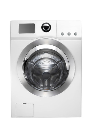 Washing machine isolated on white Stockfoto