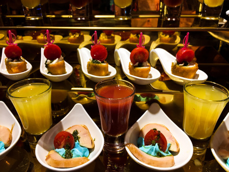 juices, candies and cakes