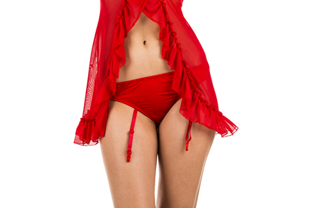 woman wearing red lingerie