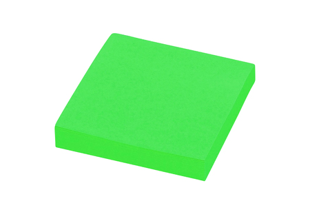 sticky green post notes isolated on white Stock Photo