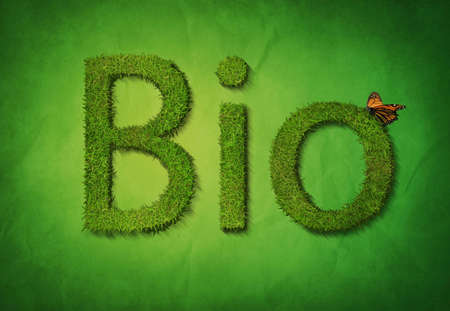 Text Bio on green background Banco de Imagens - 5671593