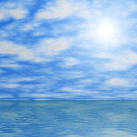 Clouds and sun reflecting in water