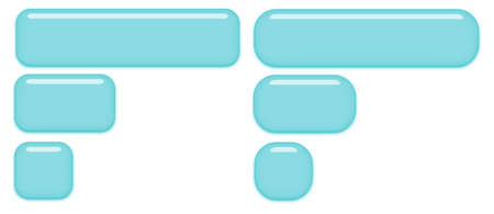 Slightly round and very round blue buttons isolated on a white background