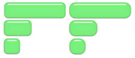 Slightly round and very round green buttons isolated on a white background