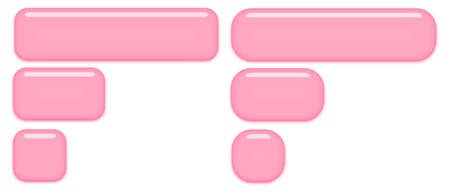 Slightly round and very round light pink buttons isolated on a white background