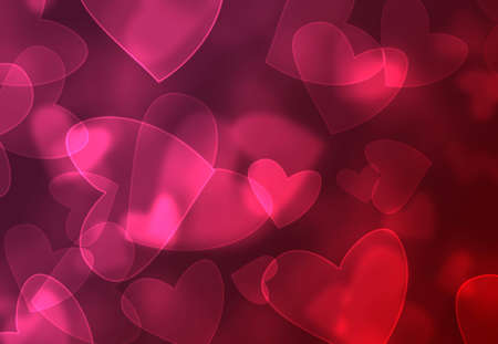 Abstract pink and red heart bokeh background Stock Photo