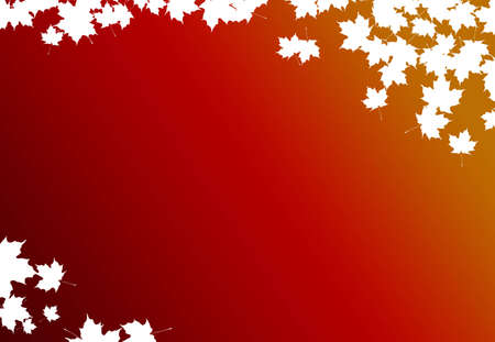 A fall background with red and orange colors and cutout maple leaves photo