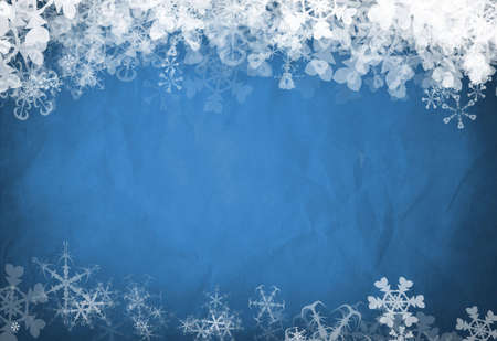 Blue background famed by white snowflakes at the top and bottom