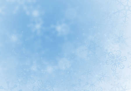 Ice blue holiday decoration background with snoflakes ans sparkles Imagens