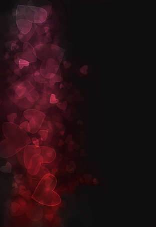 Red and pink heart  bokeh burst background