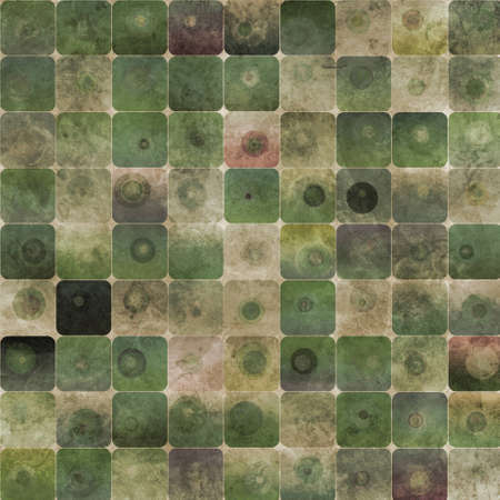 An abstract grungy image of squares with nested circles in green tones Stock Photo