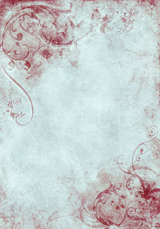 A grunge background design with swirls, floral patterns, brush strokes and paint splatters Imagens - 9367101