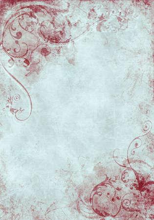 Een grunge achtergrondontwerp met wervelingen, floral patterns, penseelstreken en verf splatters
