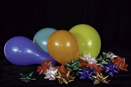 Balloons And Ribbons Lay Ready For Celebration Stock Photo - 2655669