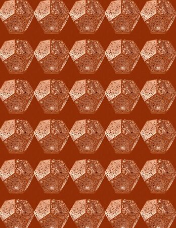 Abstract seamless pattern. Luminous pentagon figures against a brown background. Wallpaper, textile design, wall decor. Archivio Fotografico - 130045341