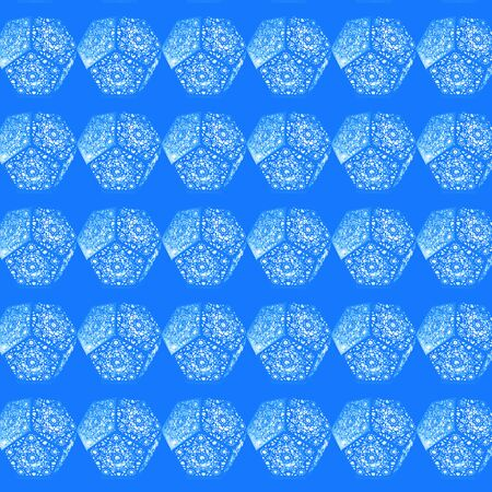 Abstract seamless pattern. Luminous pentagon structures against a blue background. Wallpaper, textile design, wall decor.