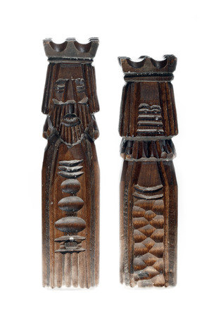 gamesmanship:  wooden carved chess pieces - king and queen