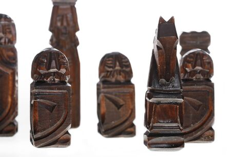 wooden carved chess pieces Stock Photo - 1518718