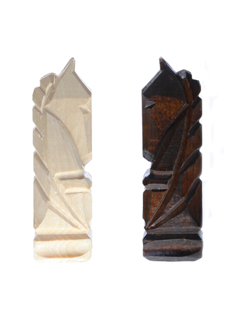 gamesmanship: wooden carved chess pieces - two knights
