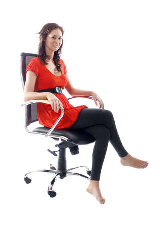 Satisfied businesswoman sitting in a chair Stock Photo - 1573236