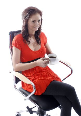 swivel: pretty woman with white cup of black coffee