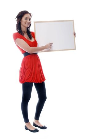 Girl with whiteboard. Image has room for text. photo