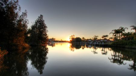 great bay: Sunset over Forster