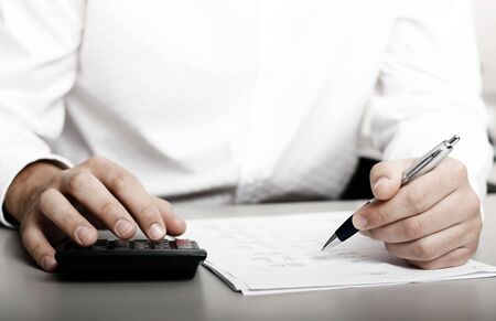 male in white shirt completing a blank form Stock Photo - 3080895