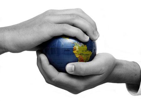 Businessman holding globe Stock Photo - 3080898
