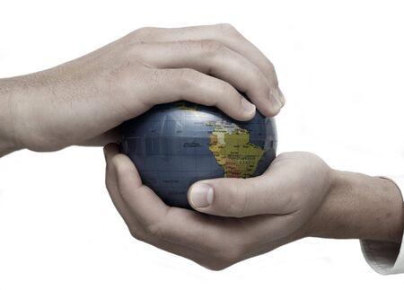 holding globe: Uomo d'affari azienda globo  Archivio Fotografico
