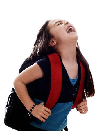 sac d ecole: fille avec sac d'�cole  Banque d'images