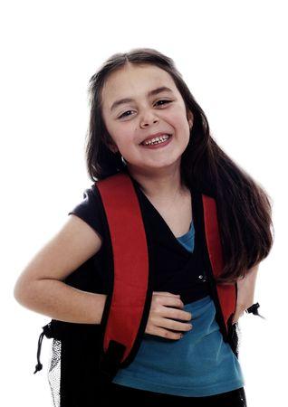 girl with school bag photo