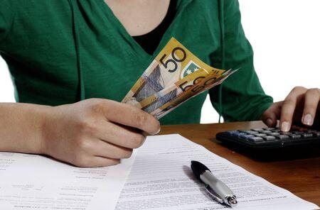 Girl counting money Stock Photo - 3126125