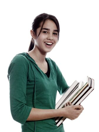 student smiling and carrying notebooks photo