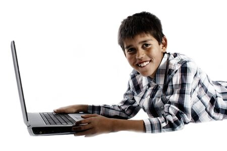 Boy with laptop photo
