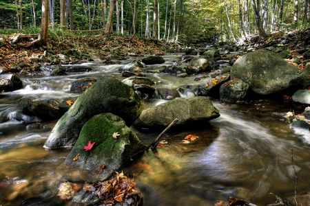 Beautiful waterfall on small forest river in the Onta region Stock Photo - 3816699