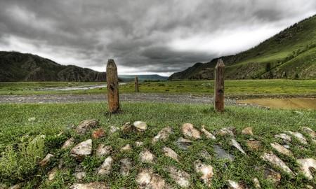 Vibrant green colors of the Mongolian plains photo