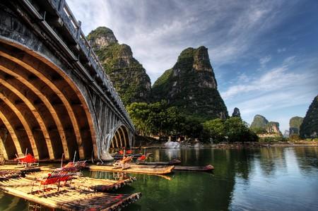 Bamboo raft on the Li river near Yangshuo, Guanxi province, China