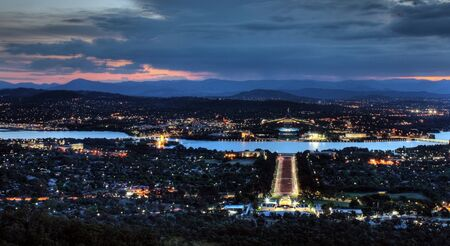 senate: Sunset in the City of Canberra, Australia