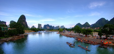 karst: Li river karst mountain landscape in Yangshuo, China Stock Photo
