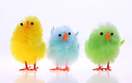 Easter background with decorative chickens in a nest Stock Photo - 4570655