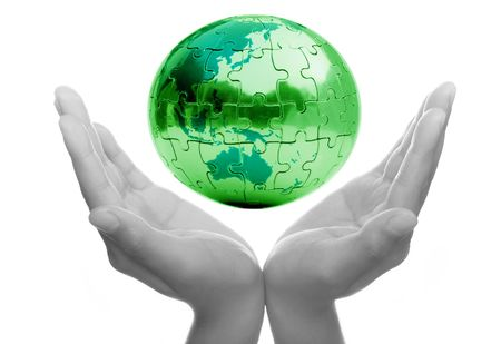Caring for Earth and protecting our future Stock Photo